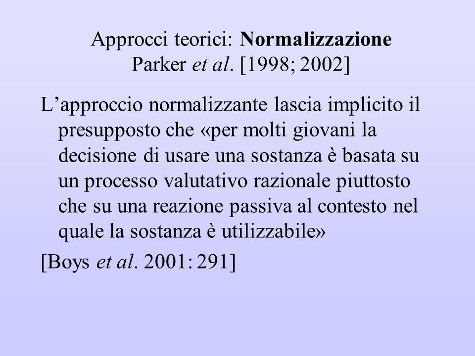 Approcci teorici: Normalizzazione Parker et al. [1998; 2002]